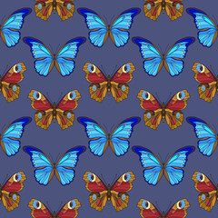 Colorful seamless pattern, background with butterflies.  Vector illustration.