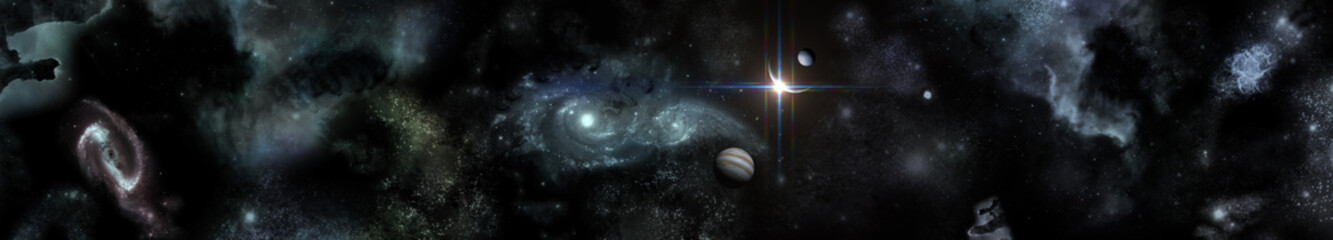 space panorama, planets on the galactic background