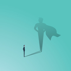 Business ambition and success vector concept. Businessman with superhero shadow as symbol of power, leadership, courage, bravery.