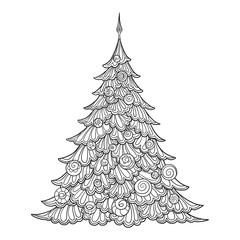 Christmas Tree Contour Drawing Good For Coloring Page The Adult Book