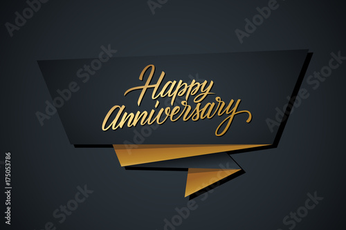 happy anniversary greeting template with gold colored hand lettering