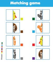 Matching children educational game. Kids activity. Match animals parts