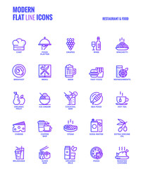 Flat line gradient icons design-Restaurant and food