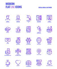 Flat line gradient icons design-Social media & Network