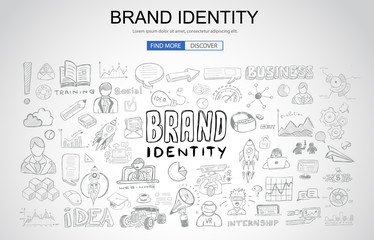 Brand identity concept with Business Doodle design style: company image, advertising tips, best practice
