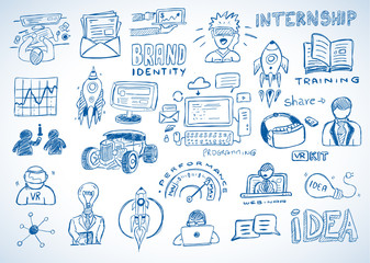 Business doodles Sketch set : infographics elements isolated, vector shapes