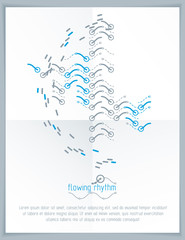 Abstract wavy lines vector illustration. Graphic template, advertising poster. Technological pattern.