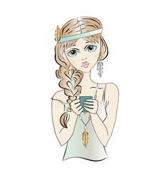 Boho girl with cup of tea or coffee. Vector illustration, isolated on white background.