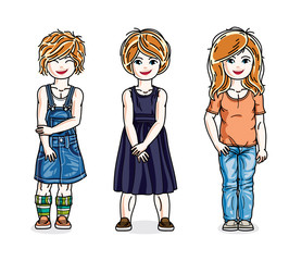 Beautiful little girls group posing wearing casual clothes. Vector kids illustrations set.