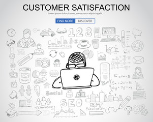 Customer Satisfaction concept with Business Doodle design style: online presence, sales and offers, best communication