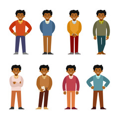 Cartoon african man in business suit set flat style. Different poses and clothes.
