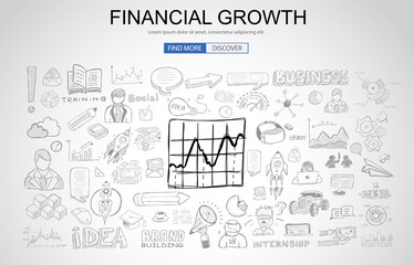 Financial Growth concept with Business Doodle design style