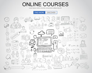 Online Courses concept with Business Doodle design style: online formation, webinars