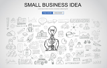 Small Business Idea concept with Business Doodle design style: online study, plans and offers, best practice