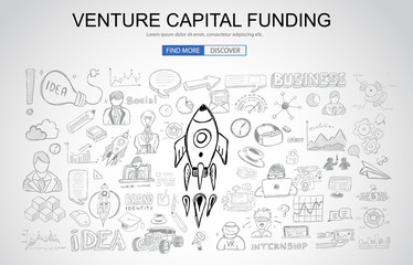 Venture Capital Funding concept with Business Doodle design style