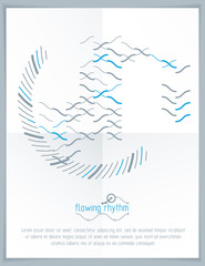 Abstract wavy lines rhythm pattern for use in graphic and web design. Vector technology flyer template.
