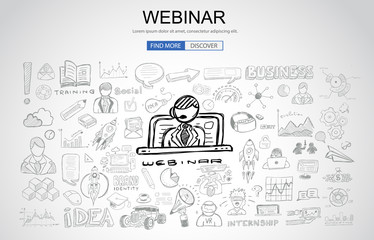 Webinar concept with Business Doodle design style: online formation, web courses, elearning tips