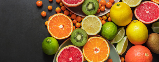 Foto op Canvas Vruchten Closeup of fresh fruits
