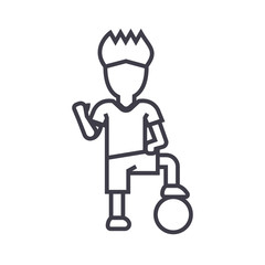 soccer player boy vector line icon, sign, illustration on white background, editable strokes