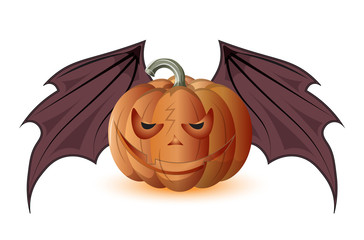 pumpkin and wings of a bat