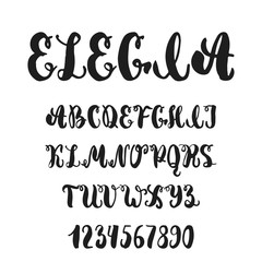 Hand drawn english lettering alphabet Elegia with examples of this font. Modern ink brush handwritten letters isolated on the white background.