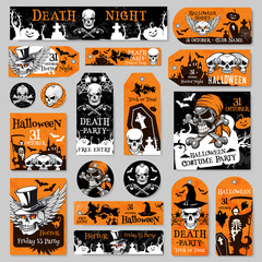 Halloween tag and label fot holiday party design