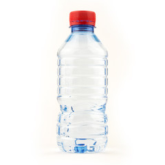 container recycling waste / Small water plastic bottle of drinking water isolated on white
