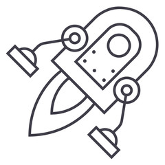 space rocket vector line icon, sign, illustration on white background, editable strokes