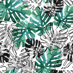 Printed roller blinds Watercolor Nature Monstera leaves seamless pattern.