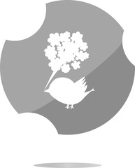 bird and flowers button, icon isolated on white