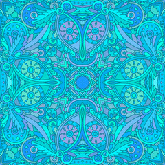 Blue decorative seamless pattern.