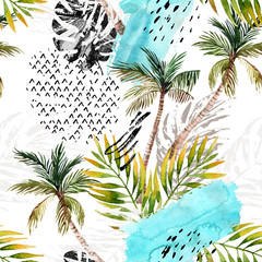 Poster de jardin Empreintes Graphiques Abstract watercolor summer seamless pattern.