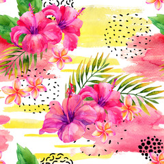 Wall Murals Graphic Prints Hand painted watercolor tropical leaves and flowers on dry rough brush stroke background.