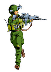 running soldier with weapon,illustration,art,design,logo,color