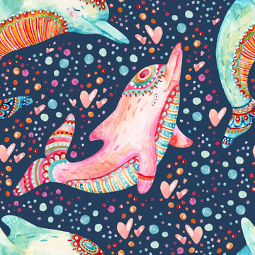 Watercolor lovely dolphins seamless pattern on background with bubbles.