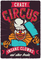 T-shirt or poster design with illustration of scary clown. Raster copy.