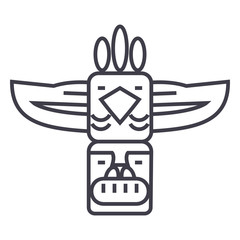 totem,native american vector line icon, sign, illustration on white background, editable strokes