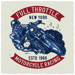 T-shirt or poster design with illustration of biker riding on vintage motorcycle. Raster copy.