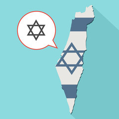 Animation of a long shadow Israel map with its flag and a comic balloon with a jewish star of david