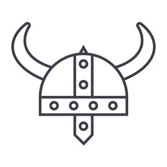 viking helmet vector line icon, sign, illustration on white background, editable strokes
