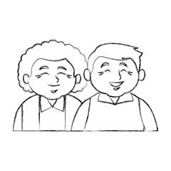 Cute grandparents couple cartoon icon vector illustration graphic design