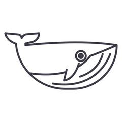 whale vector line icon, sign, illustration on white background, editable strokes