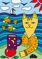 Cat on vacation at sea. Drawing for children