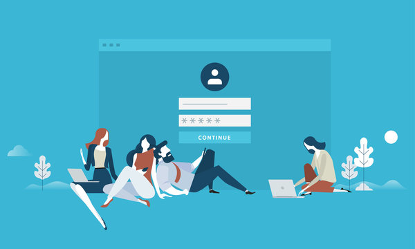 Login. Flat design business people concept for login form, internet security, user account, register page. Vector illustration concept for web banner, business presentation, advertising material.