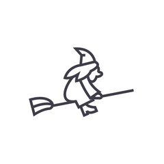 witch on a broomstick vector line icon, sign, illustration on white background, editable strokes