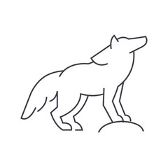 wolf vector line icon, sign, illustration on white background, editable strokes