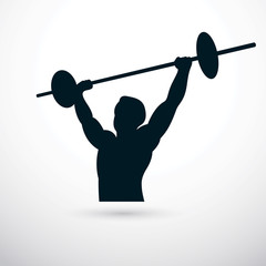 Vector illustration of muscular bodybuilder holding barbell. Power lifting competition, champion body silhouette.