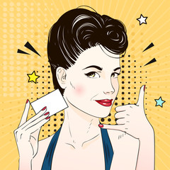 Comic Pop art woman face requests to call and holds visit card. Vector illustration.