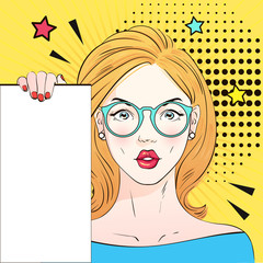 Pop Art Vintage advertising poster comic girl in round glasses holds a white banner. Vector illustration