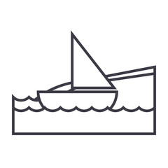 yacht on sea, beach vacation vector line icon, sign, illustration on white background, editable strokes